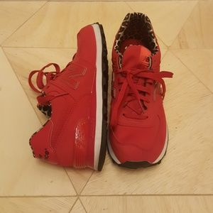 New Balance 574 women's 8.5 red with leopard